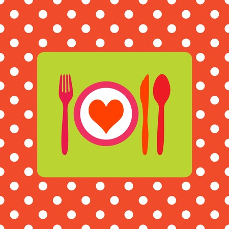 Design for healthy food, healthy meal or valentine dinner Vector