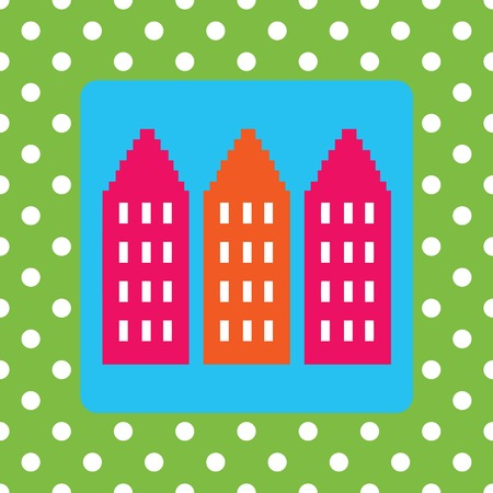 greetingcard: Design for a moving announcement with houses and polkadots