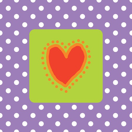 polkadots: Painted red heart with polkadots (Marriage  wedding announcement card)