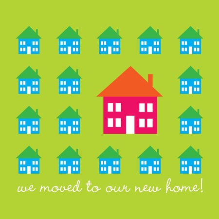 relocation: Design for a moving announcement with bright colored houses
