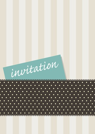 Design for an invitation card with retro stripes and polkadots Illustration