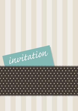 uitnodigen: Ontwerp voor een uitnodiging kaart met retro strepen en polkadots