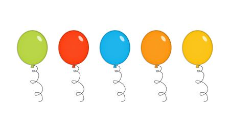 Five shiny party balloons in green, red, blue, orange and yellow. Isolated on white. photo
