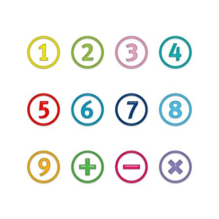 Numbers in circles: one, two, three, four, five, six, seven, eight, nine, plus and minus sign, cross. Isolated on white. photo