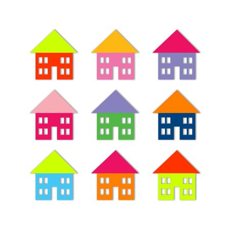 Nine bright colored houses, isolated on white, soft shadow Stock Photo - 2750686