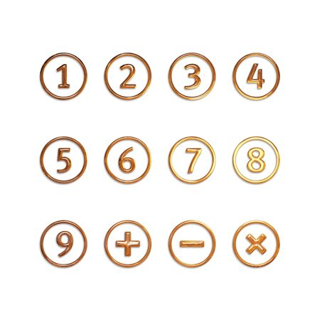 7 8: Numbers in circles: one, two, three, four, five, six, seven, eight, nine, plus and minus sign, cross. Isolated on white.
