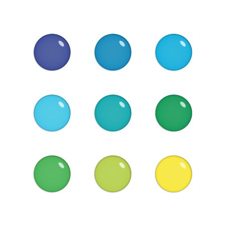 Nine shiny buttons (orbs) of glass in green, blue and yellow colours, isolated on white photo