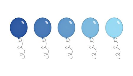 Five shiny party balloons in shades of blue. Isolated on white. Stock Photo - 2759460