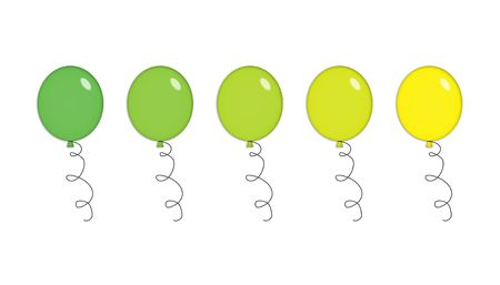 Five shiny party balloons in green and yellow. Isolated on white. photo