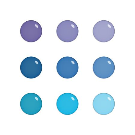 Nine shiny buttons (orbs) of glass, purple and blue colours, isolated on white photo