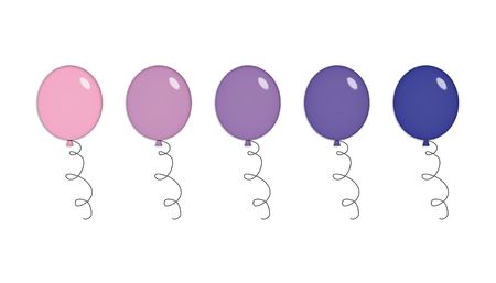 Five shiny party balloons in purple and pink. Isolated on white. photo