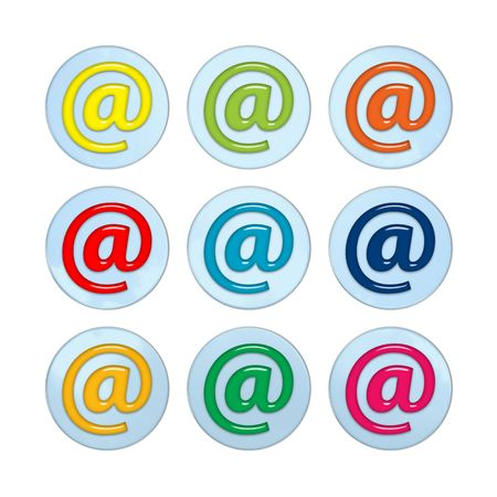 Nine shiny e-mail (at) buttons, isolated on white photo