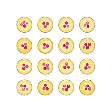 frosting: Yellow cupcakes with cherries, sprinkles and frosting, isolated on white