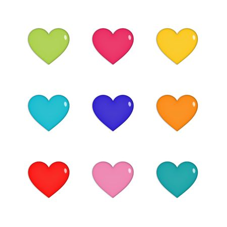 plastic heart: Nine shiny hearts in green, pink, yellow, blue, purple, orange and red, isolated on white Stock Photo