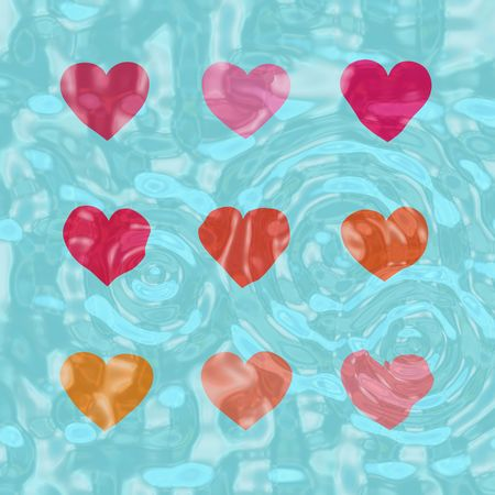 Nine hearts in a swimming pool, below the surface of water photo