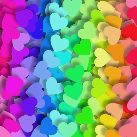 Background design with lots of little hearts in green, yellow, orange, red, purple, pink and blue