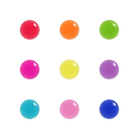Nine shiny buttons (orbs) of glass, bright colours, isolated on white photo