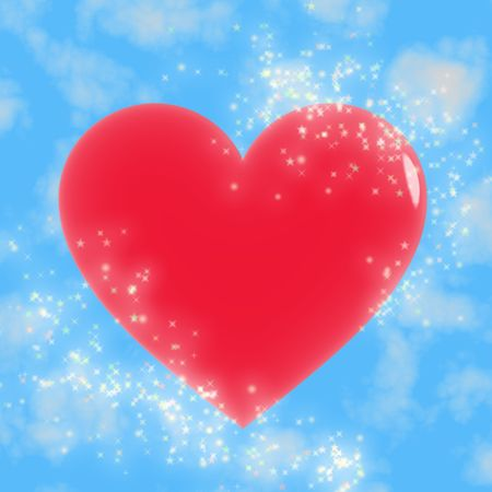 Red heart with lots of bright stars against a blue sky photo