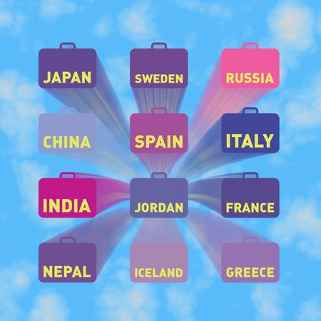 Twelve flying suitcases with country names, blue sky photo
