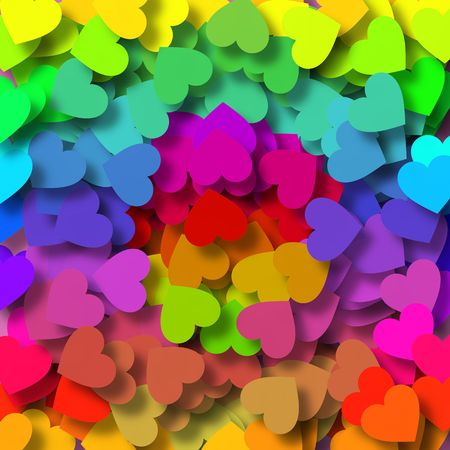 Background design with lots of little hearts in bright green, orange, yellow, red, purple, pink and blue photo