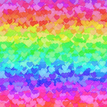 Background design with lots of transparent hearts in green, orange, yellow, red, purple, pink and blue