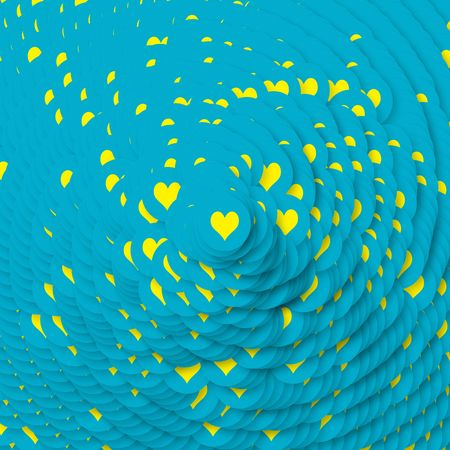 Background design with lots of yellow hearts in blue circles photo