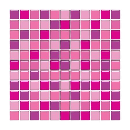 Bathroom wall with purple and pink glass mosaic tiles