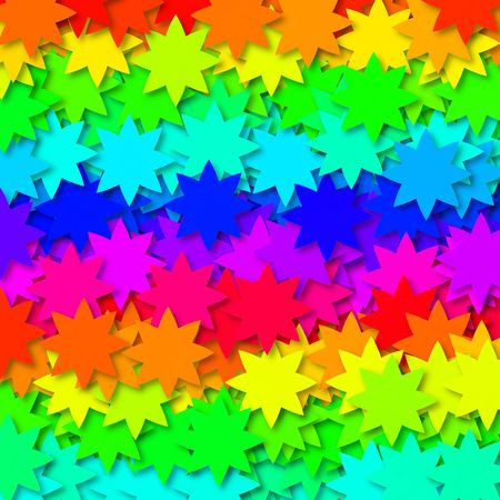 Background design with lots of stars in orange, yellow, green, blue, pink, purple Stock Photo - 2986580