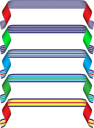 Set of five curled (striped) ribbons in blue, yellow, white, red, green Stock Photo