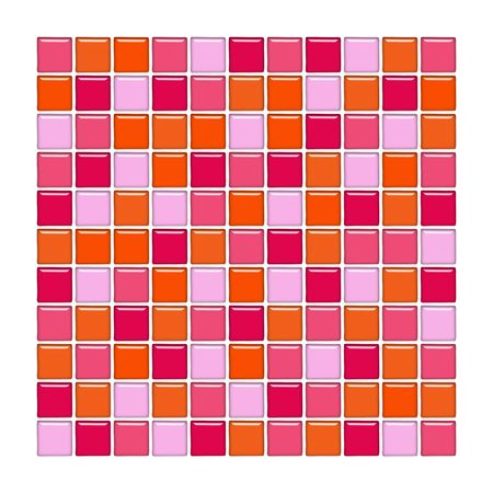 Bathroom wall with orange, pink and red glass mosaic tiles photo