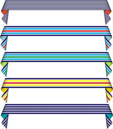 preppy: Set of five curled (striped) ribbons in blue, yellow, white, red, green Stock Photo