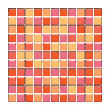 Bathroom wall with orange and pink glass mosaic tiles photo