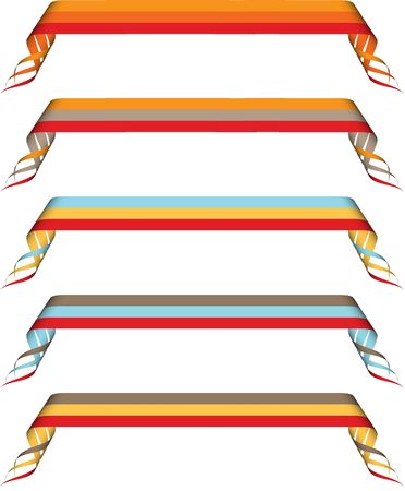 Set of five curled ribbons in blue, orange, brown, red, yellow photo