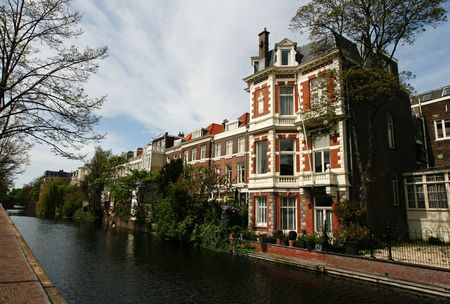 dutch canal house: Canal with traditional architecture (City: The Hague, The Netherlands, Europe) Stock Photo