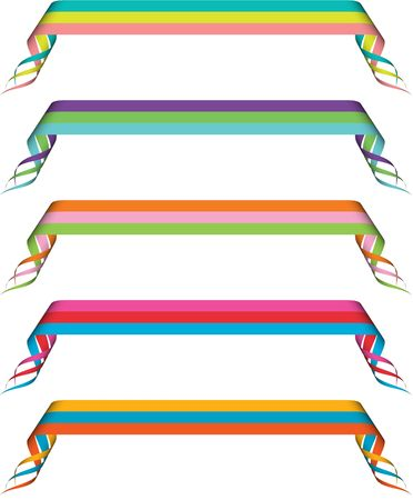 Set of five curled ribbons in green, pink, purple, blue, orange, red, yellow