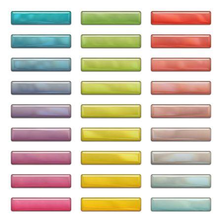 光沢のあるウェブのボタンの反射や影、白で隔離されます。色: 青、紫、緑、黄色、赤。 写真素材