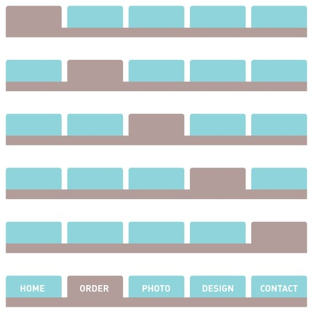Horizontal navigation bar design, web buttons, tabs. Isolated on white. Illustration