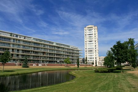 White flat and modern houses (Europe, The Netherlands, The Hague) Stock Photo - 3271156