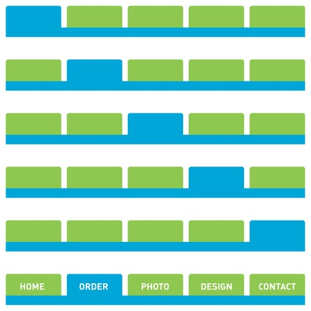 Horizontal navigation bar design, web buttons, tabs. Isolated on white. Stock Vector - 3311575