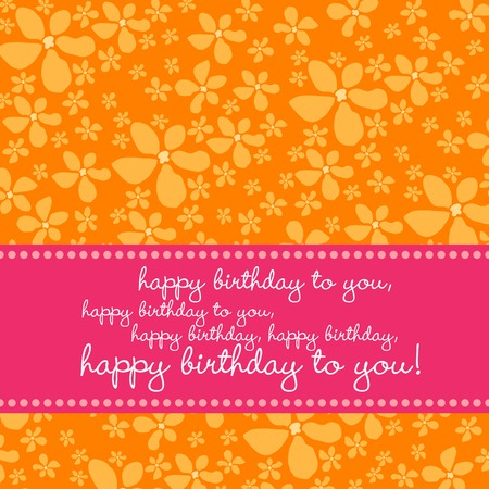 Bright colored birthday greetingcard with retro flower pattern in pink, orange, white. Vector