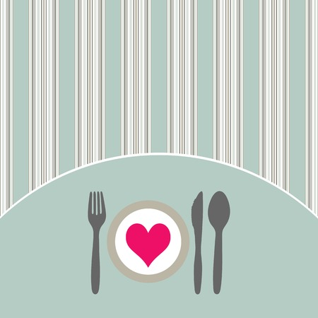 Food - restaurant - menu design with cutlery silhouette and background with vertical stripes Illustration