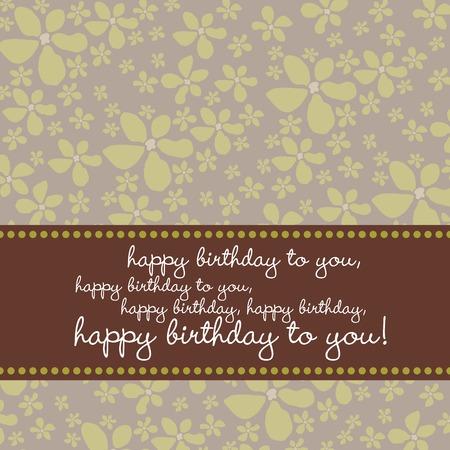 marco cumplea�os: Bright color de tarjetas de felicitaci�n de cumplea�os con flores retro patr�n en verde, marr�n, gris.