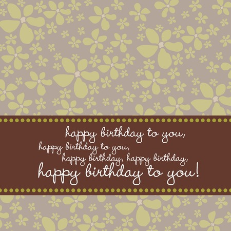 Bright colored birthday greeting card with retro flower pattern in green, brown, gray. Illustration