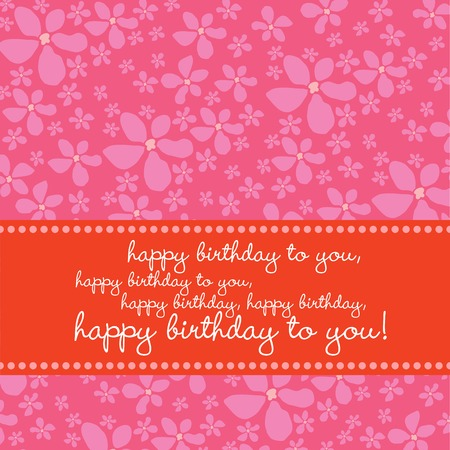 Bright colored birthday greeting card with retro flower pattern in pink, red, white. Vector