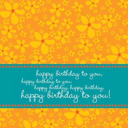 Bright colored birthday greetingcard with retro flower pattern in red, orange, blue, white.