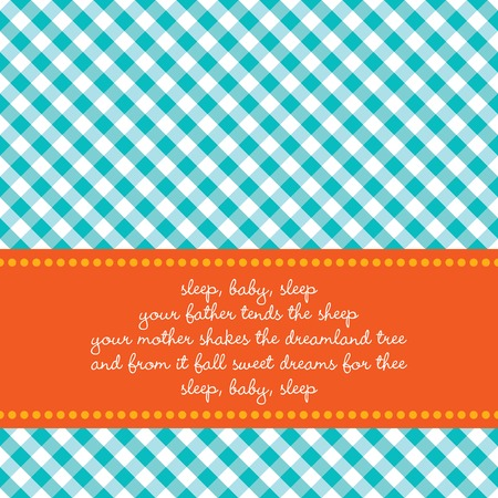 lullaby: Bright colored birth announcement or greeting card with vichy background and  lullaby Illustration