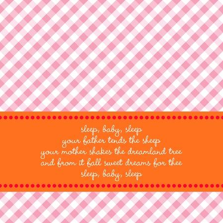 lullaby: Color brillante anuncio de nacimiento o tarjeta de felicitaci�n con antecedentes de Vichy y el beb� canci�n de cuna