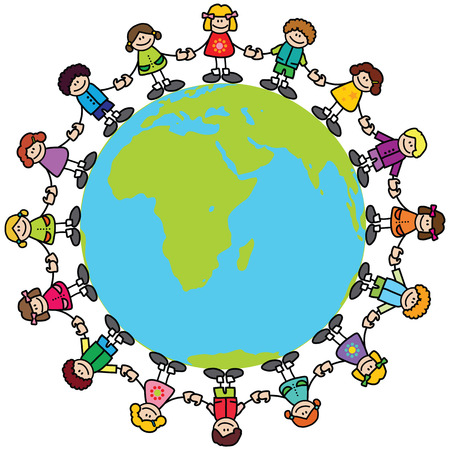 connected world: Happy children holding hands around the world
