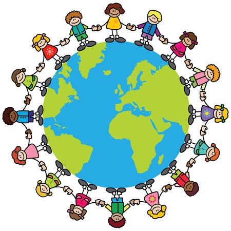 multicultureel: Gelukkige kinderen (variëteit van huidtonen) holding hands rond de wereld