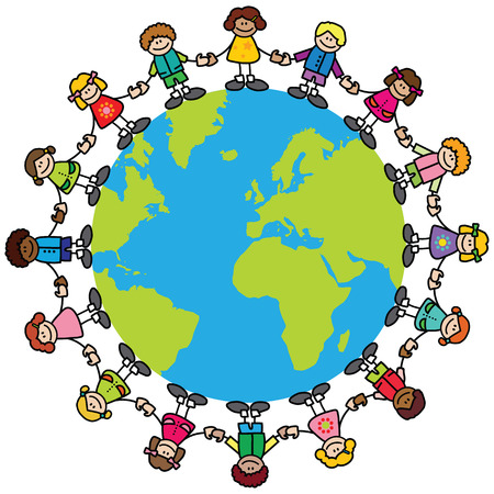 friendship circle: Happy children (variety of skintones) holding hands around the world